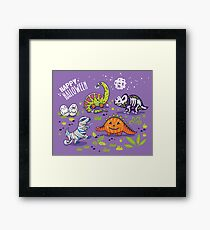 Dinosaurs in costumes for Halloween Framed Print