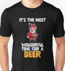 It's The Most Wonderful Time For A Beer Funny Santa  T-Shirt