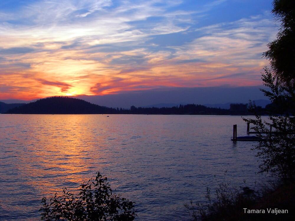 Lake Coeur d' Alene Sunset by Tamara Valjean