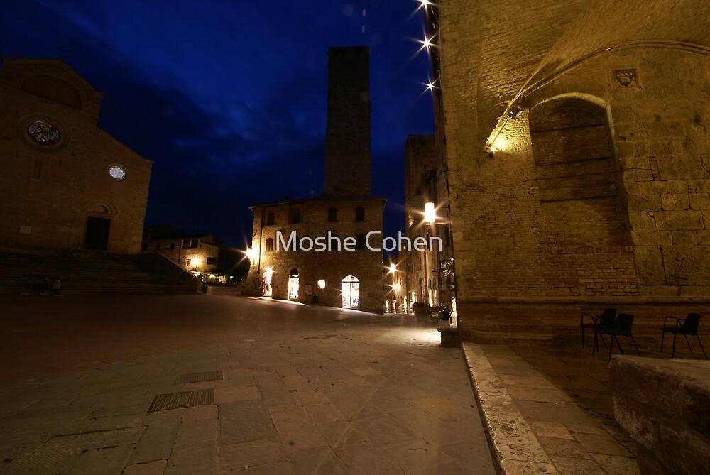 San Giminignano Italy at night #2 by Moshe Cohen