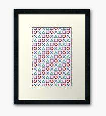 Gamer Pattern White Framed Print
