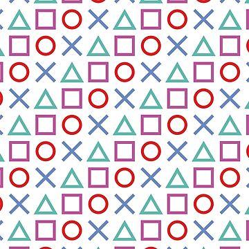 Gamer Pattern White by pattypattern