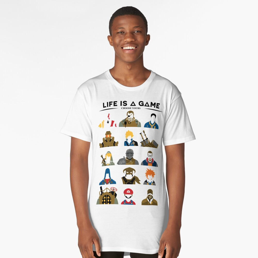Life is a game T-shirt Long T-Shirt Front