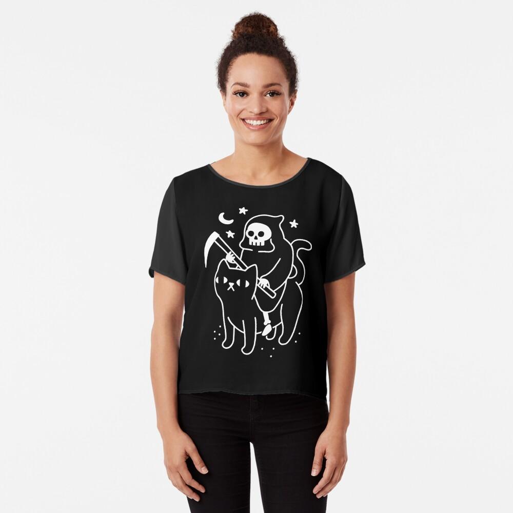 Death Rides A Black Cat Chiffon Top