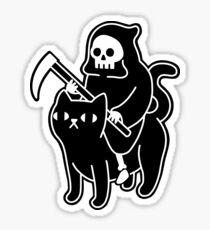 Pegatina La muerte monta un gato negro