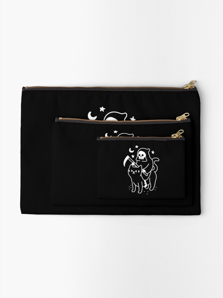 Alternate view of Death Rides A Black Cat Zipper Pouch