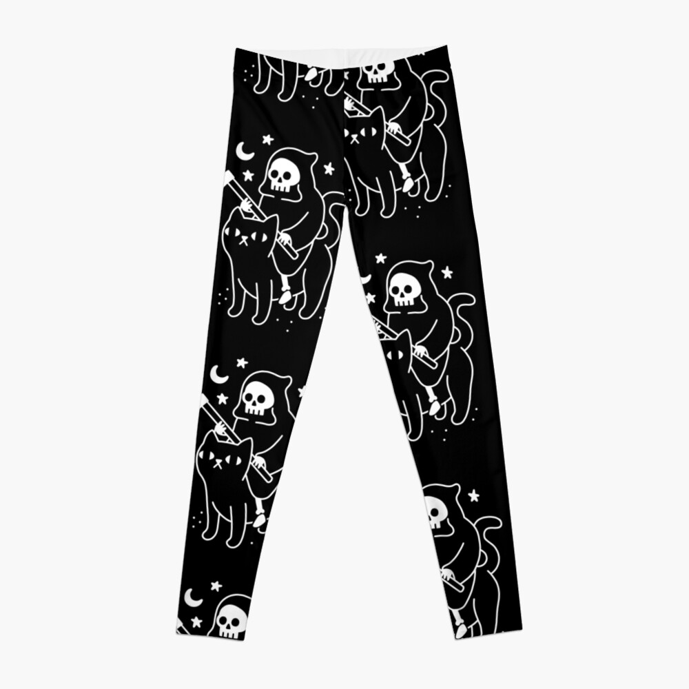 Death Rides A Black Cat Leggings