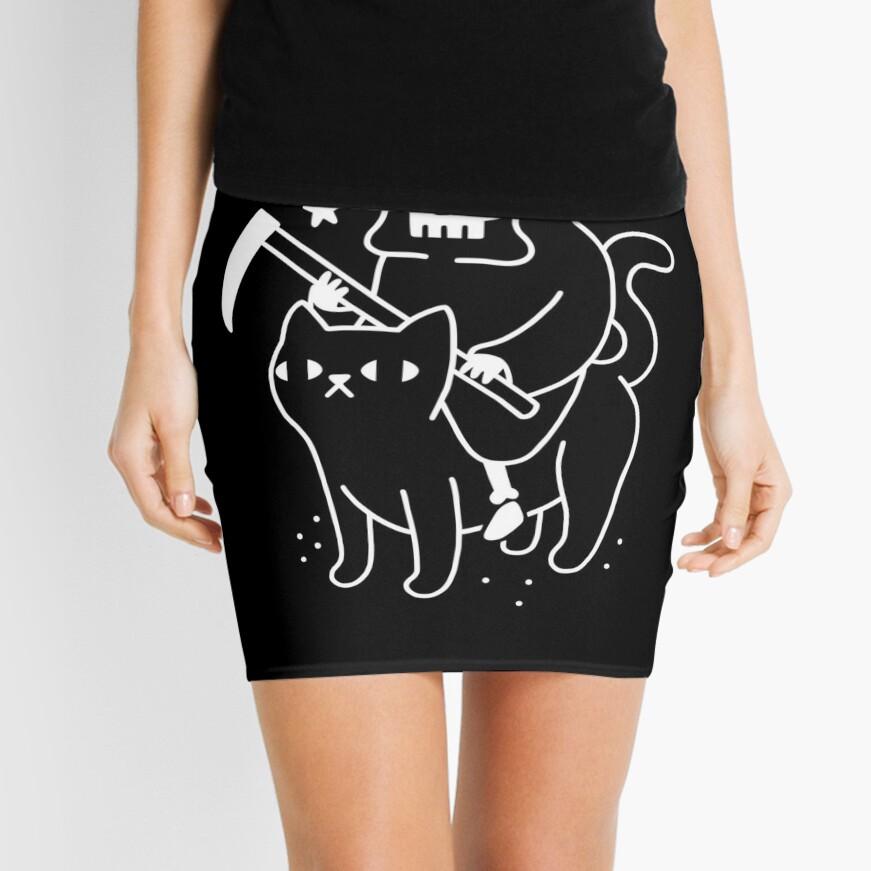 Death Rides A Black Cat Mini Skirt