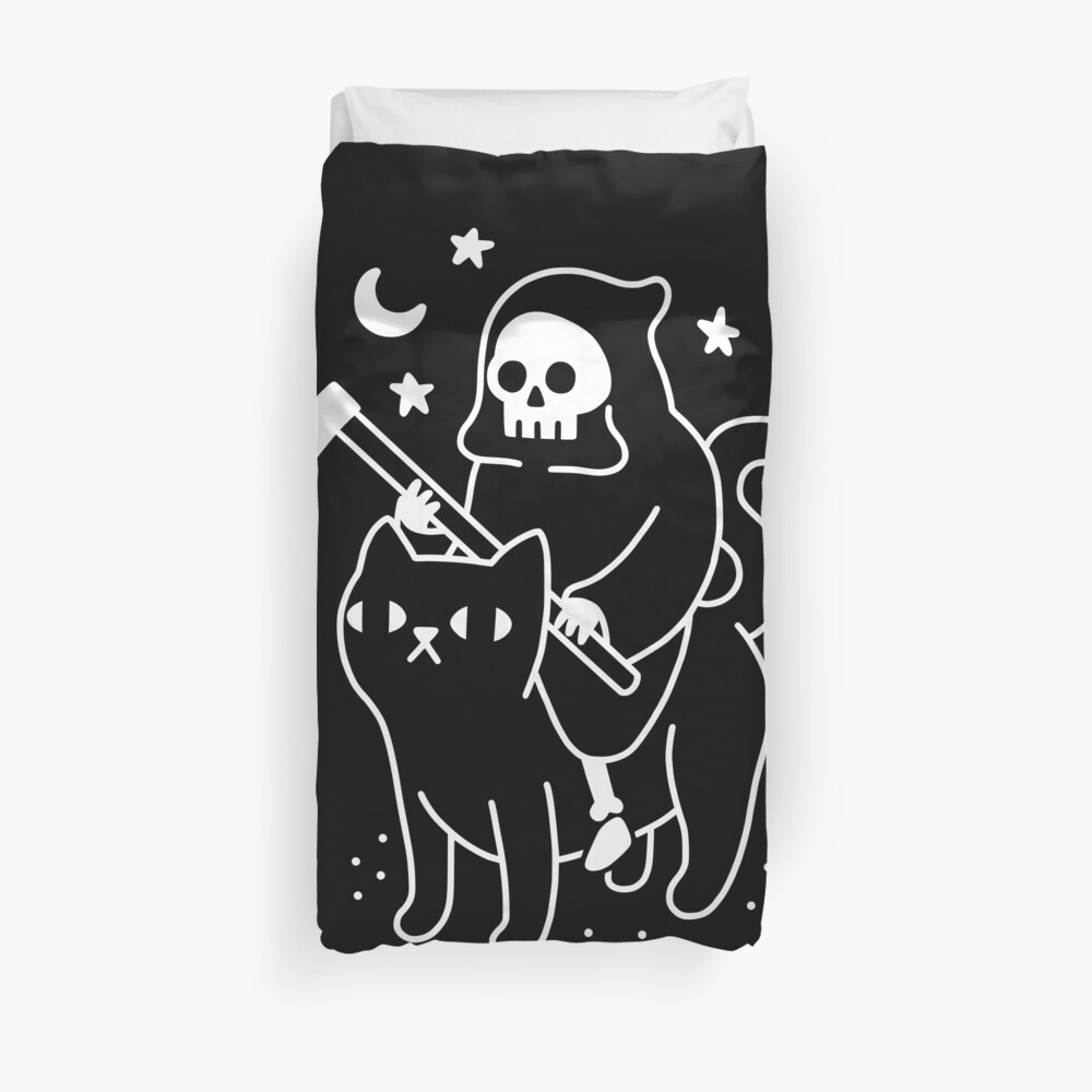 Death Rides A Black Cat Duvet Cover