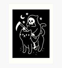 Death Rides A Black Cat Art Print