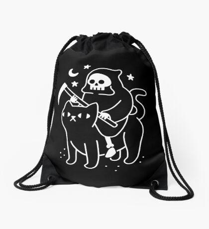 Death Rides A Black Cat Drawstring Bag