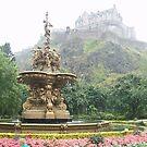 Edinburg castle and fountain, Scotland by chord0