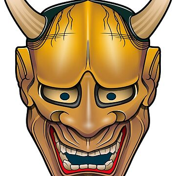 Golden Hannya demon mask by satoriartwork
