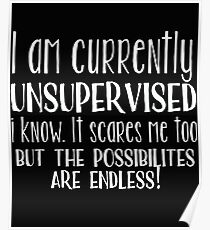 Unsupervised Funny Design - I Am Currently Unsupervised I Know It Scares Me Too Poster