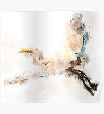 Watercolor design, crane bird flying Poster