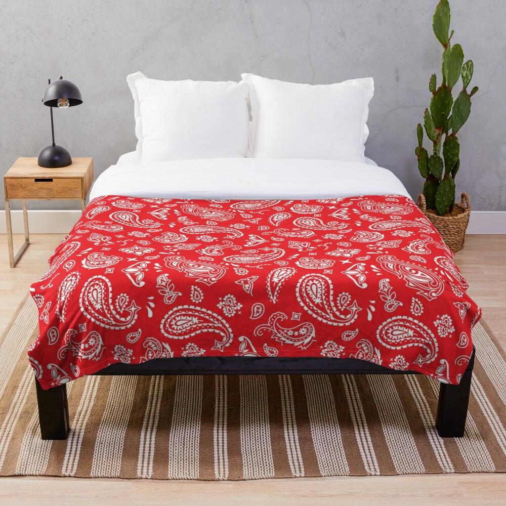 Bandana Seamless Pattern Red Throw Blanket