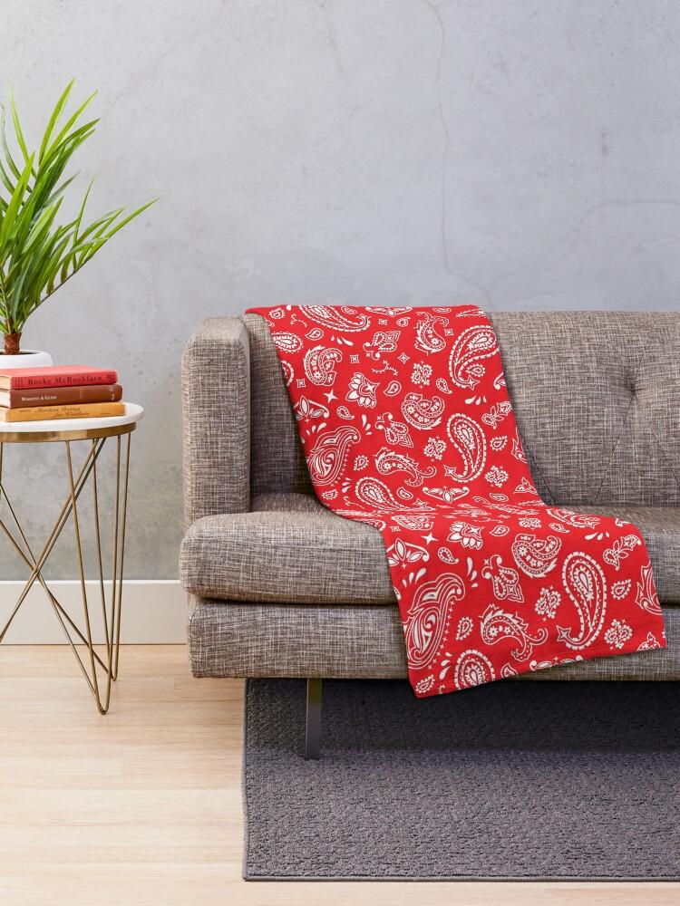 Alternate view of Bandana Seamless Pattern Red Throw Blanket