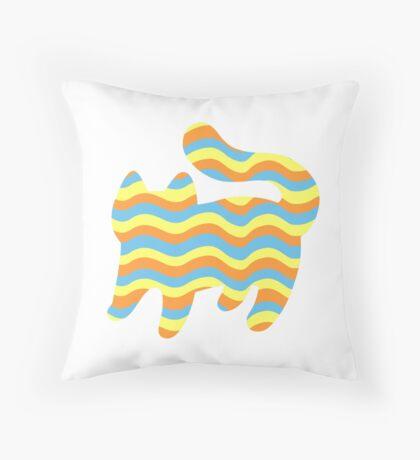 Wavy Cat Throw Pillow