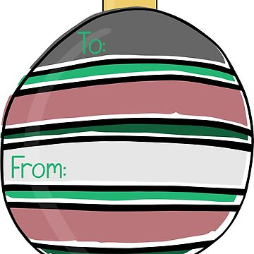 Ornament Gift Tag - Muted Stripes by katsprintbtq