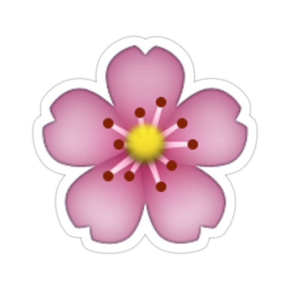 Pink flower emoji stickers by allihessel redbubble sizing information mightylinksfo