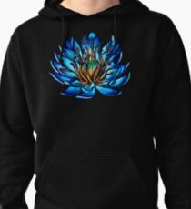 Bizarre Multi Eyed Blue Water Lily Flower Pullover Hoodie