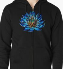 Bizarre Multi Eyed Blue Water Lily Flower Zipped Hoodie