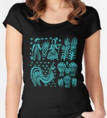 Vintage Pyrex Pattern - Butterprint Turquoise Blue Women's Fitted Scoop T-Shirt