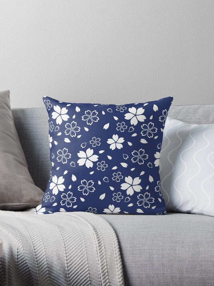 Japanese Blue Kimono Fabric Pattern by Natalia Linnik