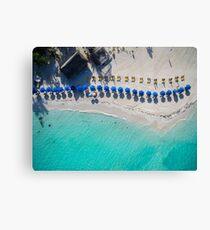 Beach Umbrellas on Isla Mujeres - Aerial Photo Canvas Print