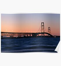 Mackinaw Bridge at Dusk Poster
