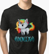 Annika Unicorn Sticker Tri-blend T-Shirt