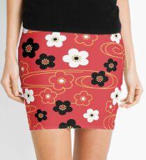 Japanese Red Sakura Cherry Blossom Flowers Mini Skirt