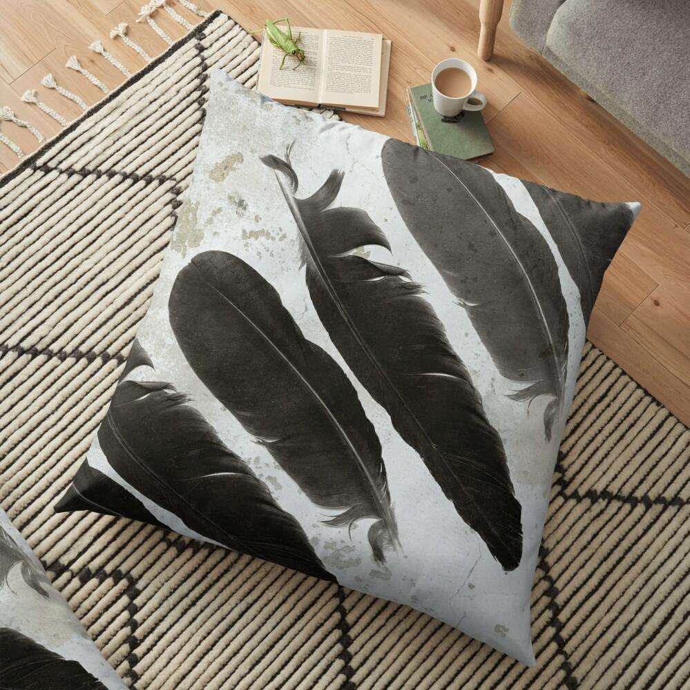 Raven Totem Floor Pillow