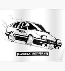 Eurobeat Intensifies AE86 Kansei Dorifto Initial D Car Poster