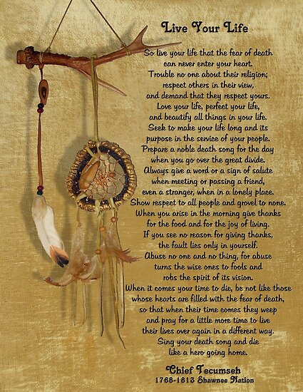 Live Your Life By Chief Tecumseh Dream Catcher Posters By