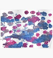 Blue yonder abstract watercolor background Poster
