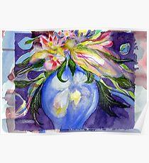 Blue Vase wildflowers Poster