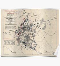 Civil War Maps 0663 Map of battle-grounds of August 28th 29th 30th 1862 in the vicinity of Groveton Prince William Co Va Poster