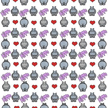 Hippo Love Hearts by Hippogal