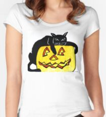 HALLOWEEN PUMPKIN AND BLACK CAT Women's Fitted Scoop T-Shirt