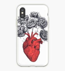 Heart with peonies iPhone Case