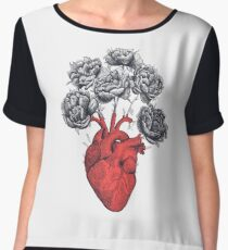 Heart with peonies Women's Chiffon Top