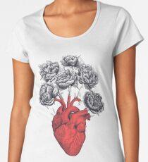 Heart with peonies Women's Premium T-Shirt