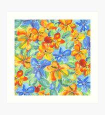Watercolor Hand-Painted Orange Blue Tropical Flowers Art Print