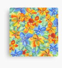 Watercolor Hand-Painted Orange Blue Tropical Flowers Canvas Print