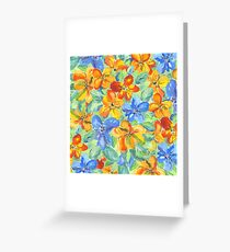 Watercolor Hand-Painted Orange Blue Tropical Flowers Greeting Card
