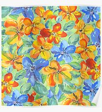 Watercolor Hand-Painted Orange Blue Tropical Flowers Poster