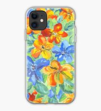 Watercolor Hand-Painted Orange Blue Tropical Flowers iPhone Case