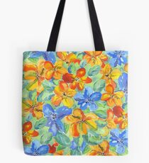 Watercolor Hand-Painted Orange Blue Tropical Flowers Tote Bag