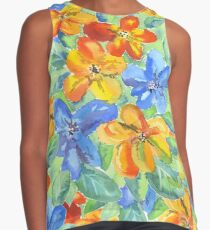 Watercolor Hand-Painted Orange Blue Tropical Flowers Sleeveless Top